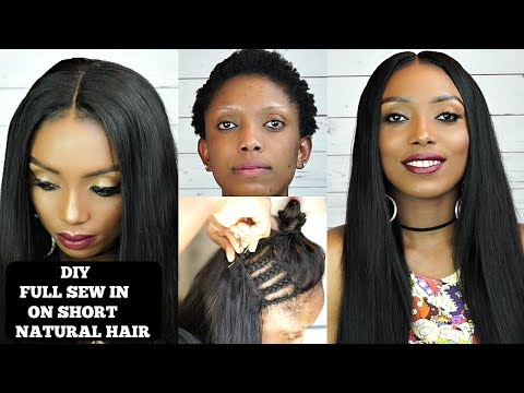 DIY How To Do Full Sew In Weave NO LEAVE OUT On Short Natural Hair | Ali Pearl Hair
