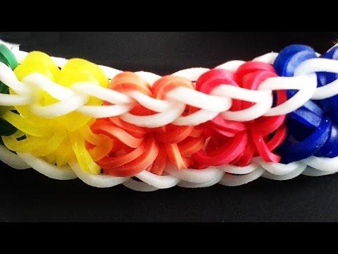 Loom Bands (No Loom needed)  Hook Only Rainbow Loom Starburst Bracelet