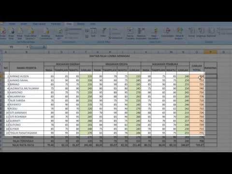 Tutorial Excel Cara Membuat Ranking Mengurutkan Data Ranking