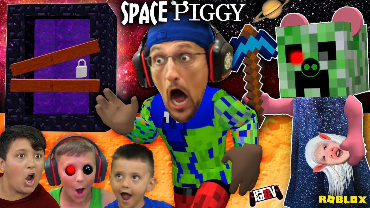 PIGGY in SPACE!  FGTeeV Builds Custom Minecraft Creeper Map (NEW BUILD MODE)