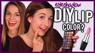 DIY Lipstick Using Eyeshadow - Makeup Mythbusters w/ MayBaby & Carrie Rad