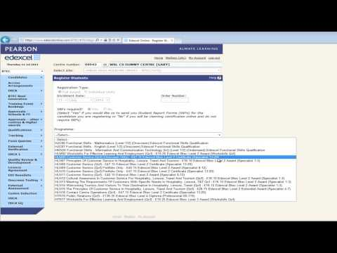 Edexcel online   Registering candidates   BTEC