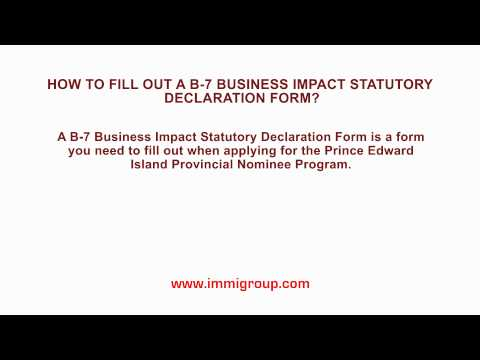 How to fill out a B-7 Business Impact Statutory Declaration Form?