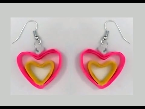 Heart shape quilling earrings making tutorials | quilling papers earring