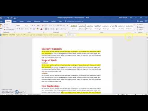 How to Select, Copy and Paste all Highlighted Text in a Word Document