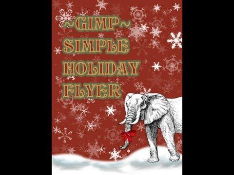 GIMP Tutorial - Simple Winter Poster - White Elephant Gift Exchange Flyer - XDTutorials.com -