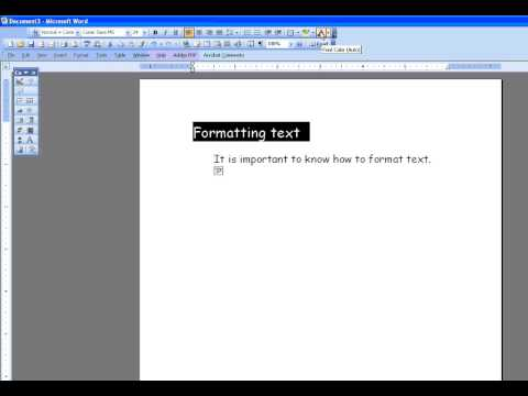 Changing Text font size color centering MS Word 2003