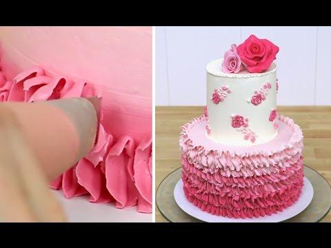 ROSE Petal Ombre Cake - Buttercream Decorating by CakesStepbyStep