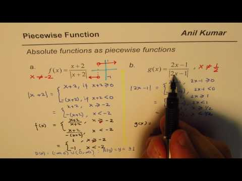 Represent Absolute Terms as Piecewise Function Find Domain Range