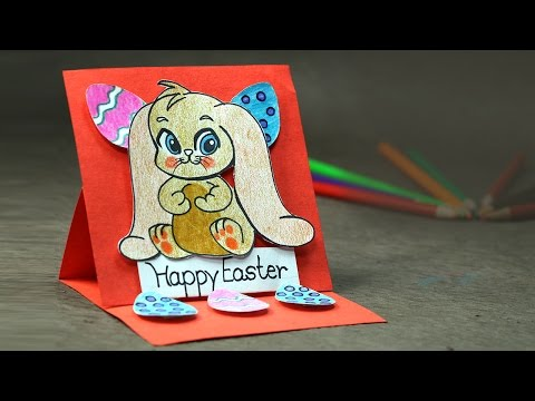 Easter Bunny Easel  Card - Very Simple and Easy DIY Greeting Card