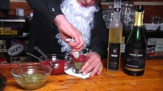 Jeremy Parsons Cocktails of Christmas continues, with this the 8th cocktail The Candycane.    Kiwi and Strawberry puree, topped with Ice Wine and Champagne
