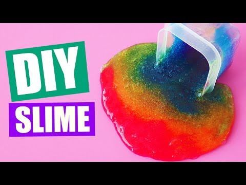 DIY Rainbow Slime without Borax or Liquid Starch by Bum Bum Surprise Toys