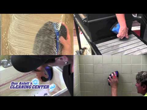 Don Aslett's Scour Pro and ShowersNStuff - remove grimy build up with minimal effort