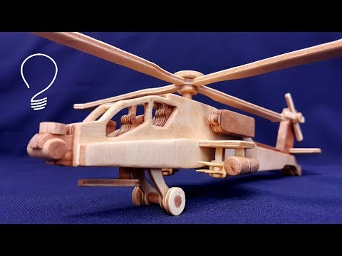Wooden Helicopter AH-64 Apache