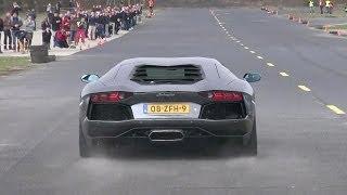 Lamborghini Aventador LP700-4 - Dragracing on a closed Airfield!