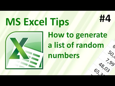 How to generate a list of random numbers in Excel (Excel tips #4)