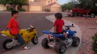 Motorcycle (4 year old on ATV 12 volts versus 7 year old on Motorcycle 36 volts)