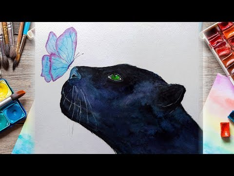 Black Panther Watercolor Tutorial \ Inspired Animal Watercolor Painting