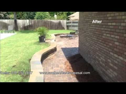 Southern Hardscapes  Curved Retaining Wall Paver Patio and Fire Pit