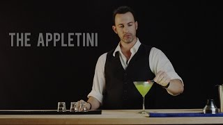 An apple martini (appletini for short) is a cocktail containing vodka and one or more of apple juice, apple cider, apple liqueur, or apple brandy. Optionally, vermouth may be included, as in a regular martini. Typically, the apple vodka is shaken or stirred with a sweet and sour mix and then strained into a cocktail glass.  This drink, properly called an Adam