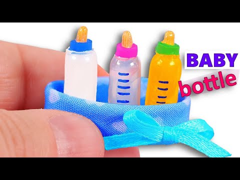 DIY miniature Baby Bottles ~ with Milk, Water, and Orange Juice