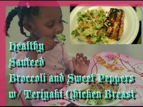 Healthy Sauteed Broccoli and Sweet Peppers with Teriyaki Chicken Breast