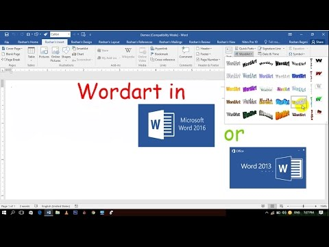 Wordart in word 2016