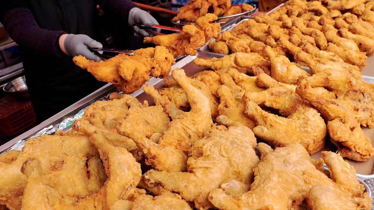 바삭바삭 하고 속살 부드러운 저렴한 전국 오일장 통닭 몰아보기   Crispy Korean Fried Chicken, Wing, Leg   Korean Street food