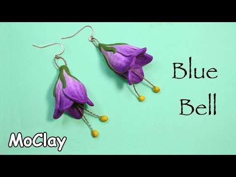 How to make a Campanula Flower (Blue bell) - Polymer clay earrings tutorial