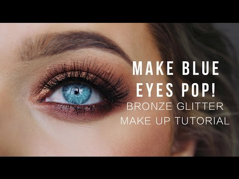 Make Blue eyes POP! Bronze Glitter Make up Tutorial!   Rachel Leary