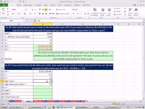 Excel Finance Class 33: Full Life Retirement Plan PV Annuity & FV Annuity PV & PMT Functions