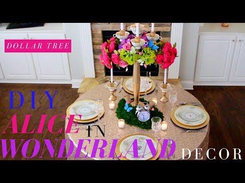 DIY ALICE IN WONDERLAND DECORATIONS | DOLLAR TREE WEDDING CENTERPIECE | TEA PARTY IDEAS