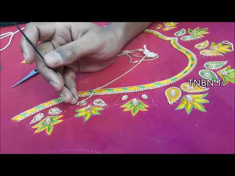 blouse back neck designs, hand embroidery tutorial for beginners | simple maggam work blouse designs