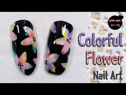Colorful Flower Nail Art (Multicolored flower, Gel nails, Tutorial)