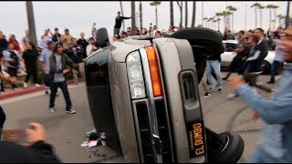 TRUCK FLIPS OVER WHILE TRYING DONUTS! ( Destroyed )