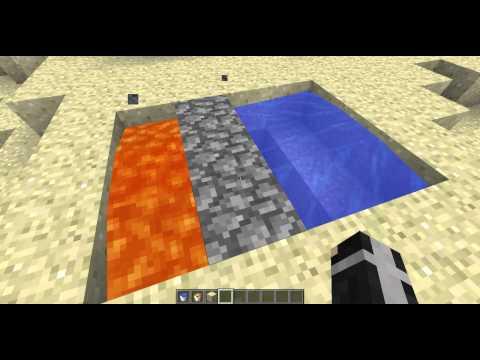 tutorial how to make a cobblestone generator (no redstone) 1+1 lava and water bucket = 3 cobblestone