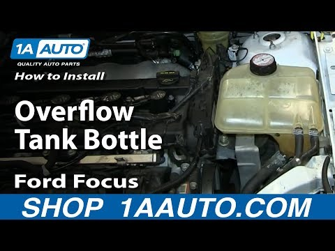 How To Install Replace Fix Cracked Radiator Coolant Overflow Tank Bottle 2000-07 Ford Focus