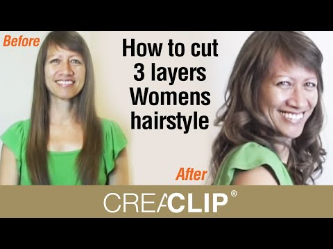 How to cut 3 layers Womens hairstyle- Lots of Layering and volume