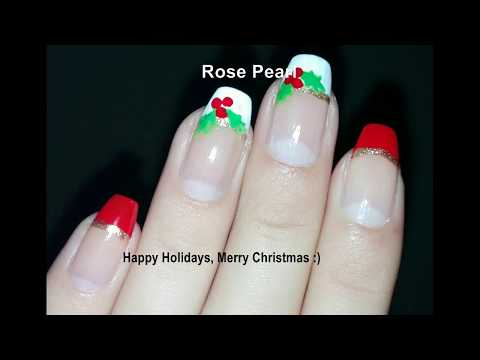 DIY Christmas HOLLY BERRIES French Manicure- Easy Festive Nail Art Tutorial | Rose Pearl