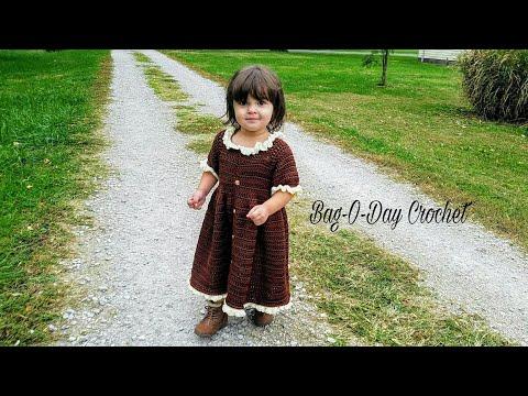 #CROCHET DRESS Little Pilgrim CROCHET Toddler Dress Baby dress CROCHET DRESS BAGODAY Tutorial #428
