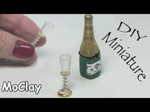 diy Dollhouse miniature - How to make goblets and champagne bottle