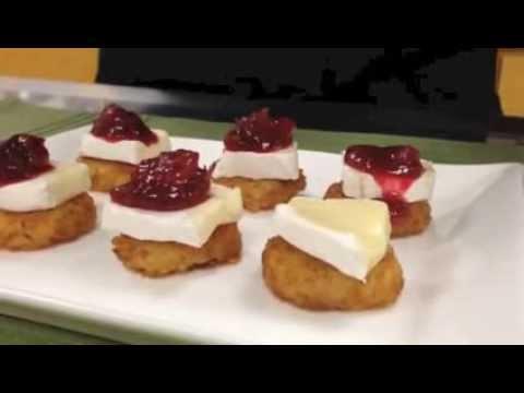 Cranberry Brie Hash Brown Canapés