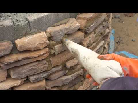 Building a Firepit : (grouting the stone)