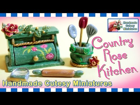 COUNTRY ROSE KITCHEN - BREAD BOX, DOLLHOUSE MINIATURE, Polymer Clay - by Artist Pamela T.