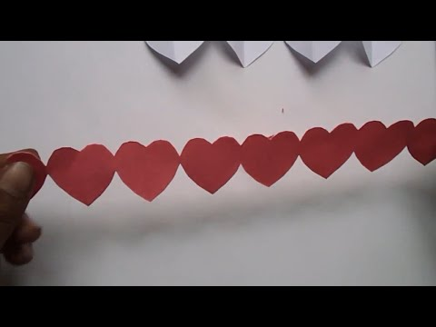 How to Make Paper Heart Chain  Valentine's Day Crafts   Paper Heart Design