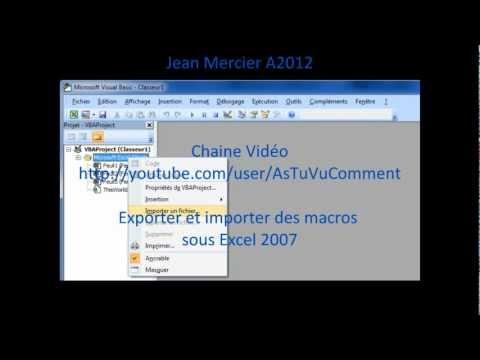 Exporter et importer des macros dans Excel 2007