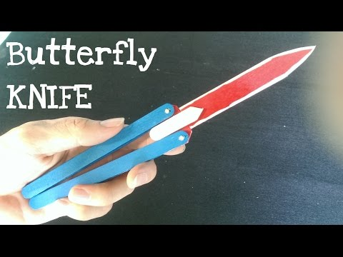 How to make a Butterfly Knife (Balisong)  using popsicle sticks | Look real