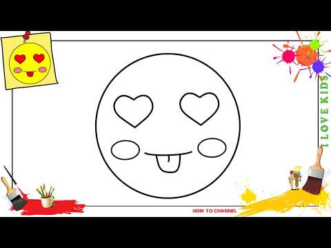 How to draw a heart eyes emoji EASY step by step for kids, beginners, children 2