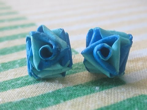 double colour quilling paper rose studs.....
