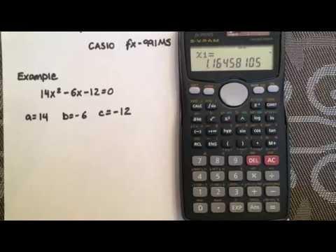 Solving a quadratic using the quadratic formula and your calculator (CASIO fx-991MS)